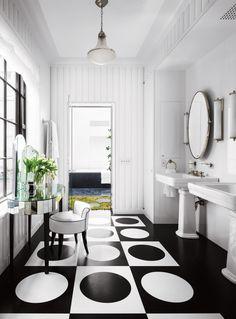 black + white bathroom