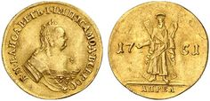 AV 2 Ducats. St. Andrew type. Russian Coins. Elizabeth I. 1741-1761. 1751, April. 7,03g. Fr 110. Bit 18. EF. Price realized 2011: 90.000 USD.