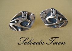 Rare Vintage 1950's SALVADOR TERAN Dancer Cuff Links Mexican Taxco from atwinkleintime on Ruby Lane