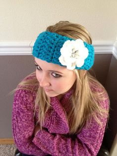 teal sparkly crochet headband