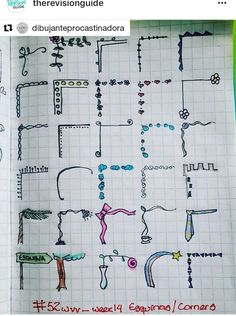 Margenes Crochet Techniques crochet techniques and tips Bullet Journal Headers, Bullet Journal Notes, Bullet Journal Ideas Pages, My Journal, Bullet Journal Inspiration, Journal Pages, Choses Cool, Note Doodles, Doodle Borders