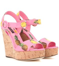 Dolce & Gabbana - Printed wedges - Dolce & Gabbana's wedges has been printed with pineapples for tropical appeal. With a sizeable platform heel and a bold colour palette, this pair with add dynamic detail to any ensemble. seen @ www.mytheresa.com