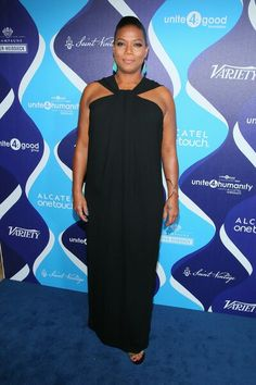 Queen Latifah Halter Dress - Queen Latifah donned a diva-glam halter gown for the event. Queen Latifah, Halter Gown, Queen Dress, Halle Berry, Plus Size Fashion, Celebrity Style, Fashion Dresses, Fashion Looks, Celebrities