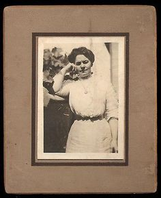Antique Photograph Woman The Thinker Lovely Fashion Dress Casual Pose