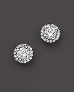 Halo Diamond Stud Earrings in 14K White Gold, .50 ct. t.w. | Bloomingdale's