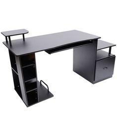 HomCom Multi-Level Home Office / Dorm Computer Desk - BlackOak