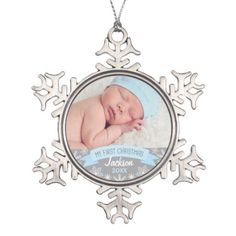 Personalized Photo Ornament | Baby Boy First Christmas