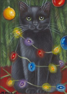 Black Cat Christmas Lights - Painting in Acrylics