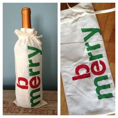 Great way to dress up a holiday party gift!  Stenciled Wine Bag - 'Be Merry'https://www.etsy.com/listing/113958227/stenciled-wine-bag-be-merry#