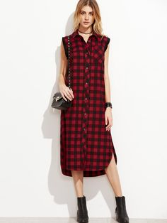 a416fbc90f44 Shop Checkered Frayed Trim Curved Hem Shirt Dress online. SheIn offers  Checkered Frayed Trim Curved