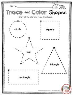 Kindergarten in August – FREEBIES TRACING SHAPES – Learning shape names – Kindergarten beginning of the year math and reading worksheets – geometry printables – Kindergarten Lesson Plans Shape Tracing Worksheets, Shape Worksheets For Preschool, Tracing Shapes, Free Kindergarten Worksheets, Kindergarten Lesson Plans, Reading Worksheets, Kids Worksheets, Free Printable Alphabet Worksheets, Free Printables