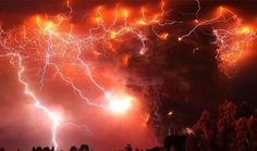 Lightning storm near volcano Lightning strikes over the Puyehue volcano, over 500 miles south of Santiago, Chile, Monday June (AP Photo/Francisco Negroni, AgenciaUno) Volcano Lightning, Lightning Storms, Red Lightning, Lightning Photos, Volcan Eruption, Volcano Photos, Erupting Volcano, Lightning Strikes, Natural Phenomena