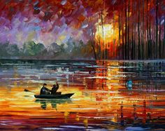 Night Fishing — Palette Knife Oil Painting On Canvas by Leonid Afremov on AfremovArtGallery, $239.00