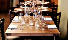 Wide Plank Walnut Table Tops at Barbone Restaurant & Bar Located in New York, NY