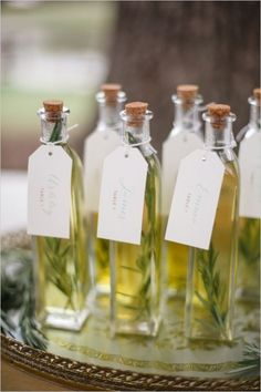 Olive Oil Party Favors & Escort Cards via The Wedding Chicks