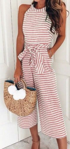 Women's Pink Striped High-Neck Jumpsuit