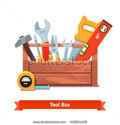 Wooden toolbox full of equipment. Flat style vector illustration isolated on white background.