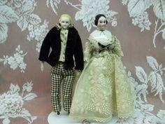 Fantastic Pair Of Small Antique 1860  China & Parian Dolls