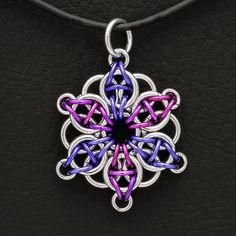 "Unique handmade jewelry.ChainMaille Pendant ""Celtic Star"" A beautiful mixture of Purple, Violet and SIlver $25 http://tomsfoolerychainmailejewelry.com/product/handmade-jewelry-chainmaille-pendant-2/"
