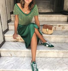 All green outfit: green knit top with satin green skirt and green sneakers. Fashion Mode, Look Fashion, Girl Fashion, Fashion Outfits, Fashion Tips, Korean Fashion, Fashion Bloggers, Fashion Styles, Paris Chic