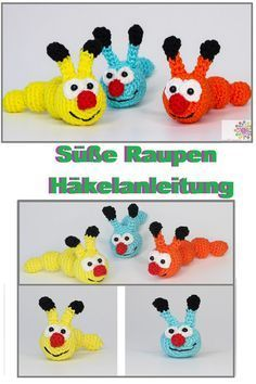 Cute Caterpillars Free Crochet, Video Tutorial, Text Tutorial, Source by oeftiger Diy Crochet And Knitting, How To Start Knitting, Crochet Videos, Easy Knitting, Cute Crochet, Easy Crochet, Crochet Toys, Knitting Patterns, Crochet Patterns