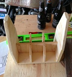Sure, you don& need a wooden six pack to transport your beer, but you certainly want one! A wooden six pack is practical, reusable, du. Wooden Beer Caddy, Wooden Tool Boxes, Woodworking Toys, Woodworking Projects, Diy Wood Projects, Wood Crafts, Wood Toys Plans, 6 Pack, Wood Creations
