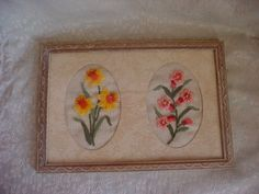 Vintage Crewel Embroidery Picture Flowers Framed under Glass Yellow and Pink