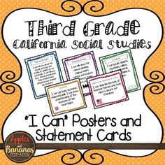 """We have taken the California social studies standards for third grade and turned them into """"I Can..."""" posters and statement cards so that your kiddos can boast about what they can do! 36 pages of useful materials provided! Color coding and icons are supplied for"""