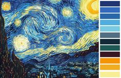 Noite Estrelada - Van Gogh - Paleta de Cores