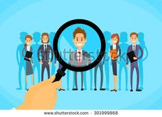 Recruitment Hand Zoom Magnifying Glass Picking Business Person Candidate People Group Flat Vector Illustration - stock vector