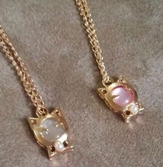 Gold-Plated-Cat-Pendant-With-Pink-Or-White-Cats-Eye-Necklace-US-Seller #cat #necklace #catseye