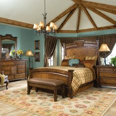 This bedroom is lovely....love the wall color and all that beautiful natural wood!