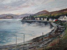 Lochcarron Village Church Of Scotland, March Month, Scottish Highlands, Art Decor, Scenery, Fine Art, Artist, Handmade, Painting