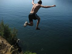Cliff Jumping...Nothing like the rush of flying through the air...After leaping from high places...Picture taken at Lake Pend Oreille, Idaho...