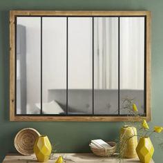 Miroir en pin et métal noir 120x95   Maisons du Monde
