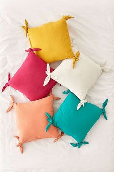 Shop Knotted Ties Throw Pillow at Urban Outfitters today. We carry all the latest styles, colors and brands for you to choose from right here. Cute Pillows, Diy Pillows, Decorative Pillows, Pillow Ideas, Colorful Pillows, Cushion Cover Designs, Cushion Covers, Pillow Covers, Home Crafts
