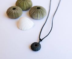 Black Sterling Silver Sea Urchin Pendant - Small Size Oxidised Silver / Black Pendant with Chain or Cord