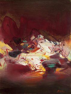 CHU Teh-chun Composition 1979 oil on canvas 65.5 x 50cm Taipei auction item Est: NT$ 5 – 7 million