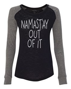 Ladies NAMASTAY OUT OF IT Patch Slub Tee ExtraSmall BlackGranite *** Learn more by visiting the image link.