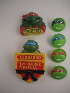 Vintage  Teenage Mutant Ninja Turtles Burger King the 4 small heads were bike spokes that I had