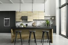 Brentford Iconic Beech and Quadra Black Kitchen