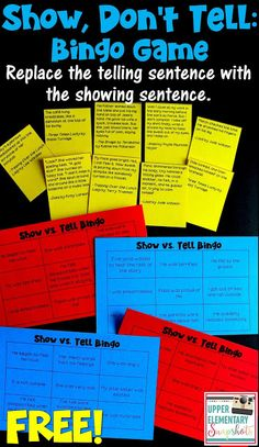 Don't Tell: A FREE Writing Lesson Show Don't Tell Bingo Game. FREE writing minilesson for upper elementary and middle school students!Show Don't Tell Bingo Game. FREE writing minilesson for upper elementary and middle school students! Writing Traits, Writing Games, Writing Classes, Paragraph Writing, Writing Strategies, Cool Writing, Writing Workshop, Teaching Writing, Writing Skills