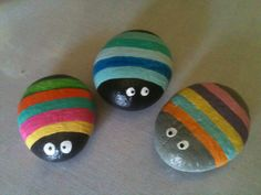 Doodle Bugs, painted rock art  As seen on Pinterest E.R. 2014