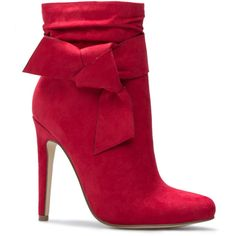 ShoeDazzle Booties Kimika Womens Red ❤ liked on Polyvore featuring shoes, boots, ankle booties, booties, red, bow ankle boots, red short boots, red bootie, bootie boots and ankle boots
