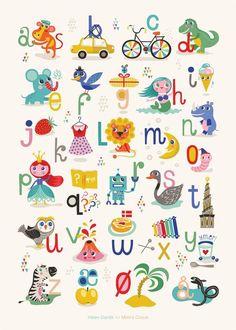 Mimi's ABC plakat By Helen Dardik x 70 cm) - Mimi´s Circus Alphabet Games, Alphabet For Kids, Alphabet Art, Alphabet Posters, Abc Poster, Toddler Fun, Toddler Preschool, Diy For Kids, Gifts For Kids