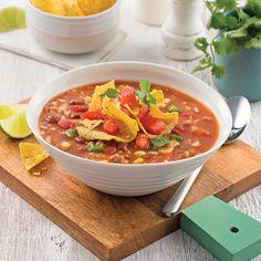 Soupe-repas olé olé - Les recettes de Caty No Salt Recipes, Tex Mex, Thai Red Curry, Chili, Lunch, Meals, Vegan, Ethnic Recipes, Loin