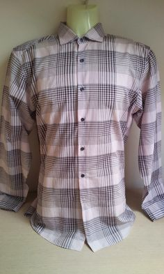 REISS CHECK Shirt Mens Men's Sze M, PINK, BROWN GREAT BARGAIN!!!  just been added so grab a bargain!