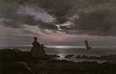 Joah Christian Dahl, Mother and Child by the Sea, 1840