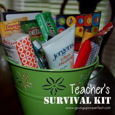 45 Ideas for Making a Teacher's Survival Kit {perfect for Teacher's Appreciation gifts!} via www.givinguponperfect.com