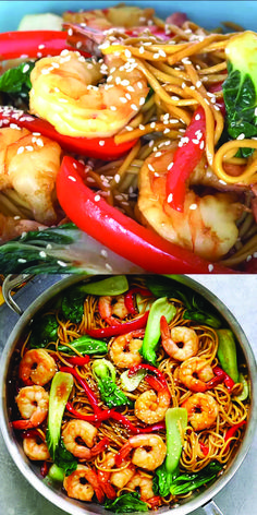 The best and most delicious Shrimp Lo Mein recipe ever! Made with store-bought L… The best and most delicious Shrimp Lo Mein recipe ever! Made with store-bought Lo Mein noodles, it's better than Chinese. Salmon Recipes, Fish Recipes, Seafood Recipes, Asian Recipes, Chicken Recipes, Cooking Recipes, Healthy Recipes, Seafood Pasta, Bacon Pasta